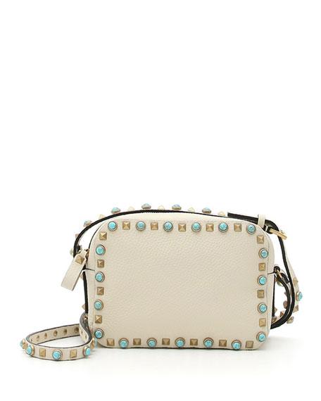 Valentino Rockstud Turquoise-Studded Camera Crossbody Bag, Ivory