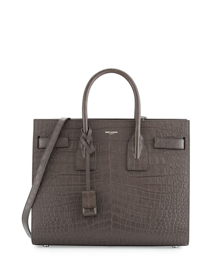 Sac de Jour Small Crocodile-Embossed Satchel Bag, Dark Gray