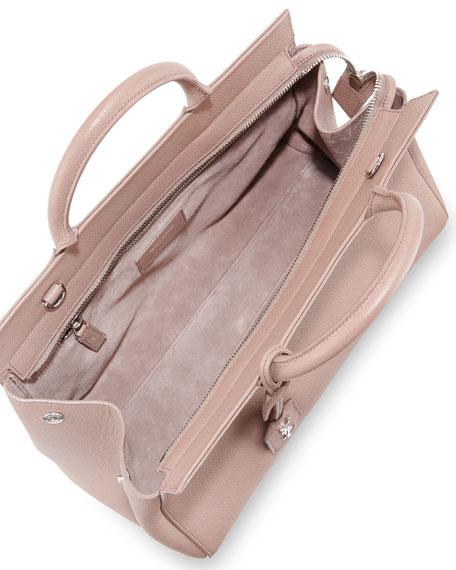 Saint Laurent Rive Gauche Small Grain Leather Satchel Bag, Blush