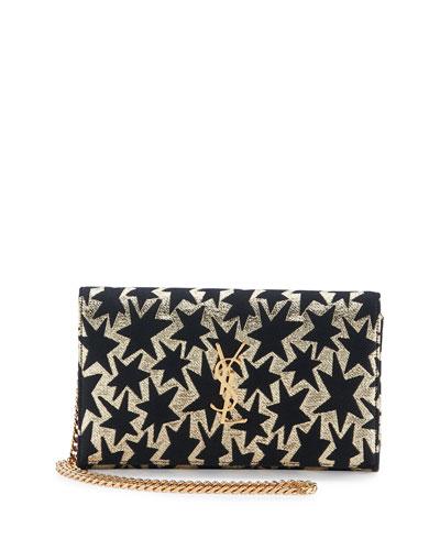 Monogram Stars Flap Wallet-on-a-Chain, Gold/Black
