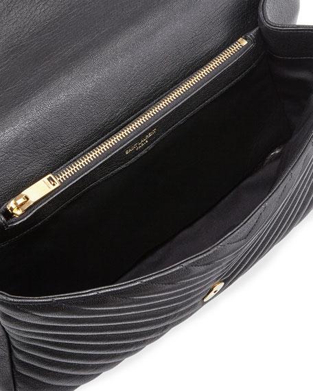 Monogram Collège Large Chain Shoulder Bag, Black/Gold