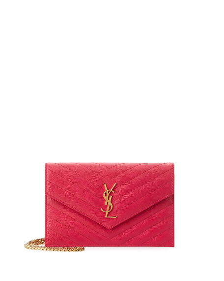 Saint Laurent Monogram Small Matelass?? Wallet-on-Chain, Fuchsia