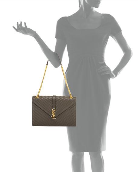 Saint Laurent Monogram Large Kate Chain Shoulder Bag, Dark Gray