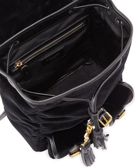 Festival Small Velvet Backpack, Black