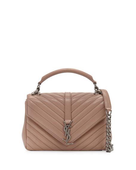 Saint Laurent Monogram Medium College Shoulder Bag, Blush