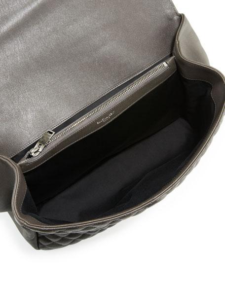 Monogram Large Tri-Quilt College Shoulder Bag, Dark Gray
