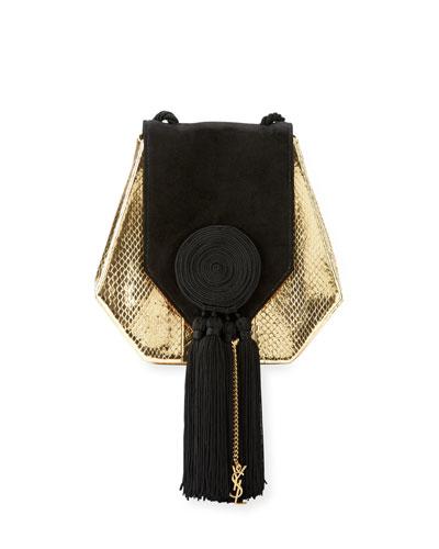 Opium Snakeskin & Suede Crossbody Bag, Gold/Black