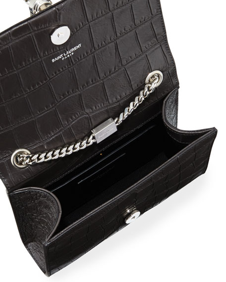 Monogram Small Kate Tassel Crocodile-Embossed Shoulder Bag, Dark Gray