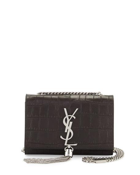 Monogram Small Kate Tassel Crocodile-Embossed Shoulder Bag, Dark Gray