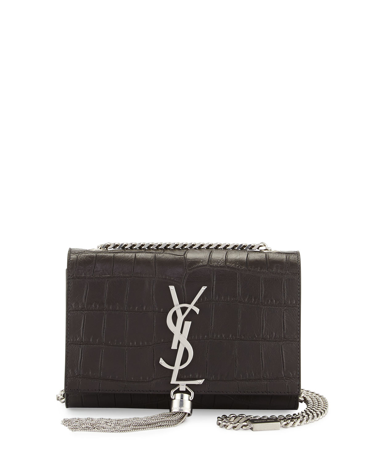 5ed0c8ec8e6d Saint Laurent Monogram Small Kate Tassel Crocodile-Embossed Shoulder ...