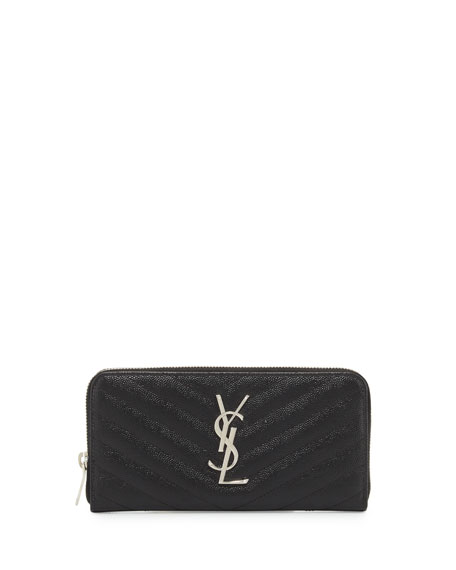 Saint Laurent Monogram Matelassé Zip-Around Wallet, Black