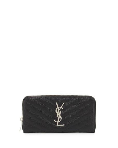 Monogram Matelassé Zip-Around Wallet, Black