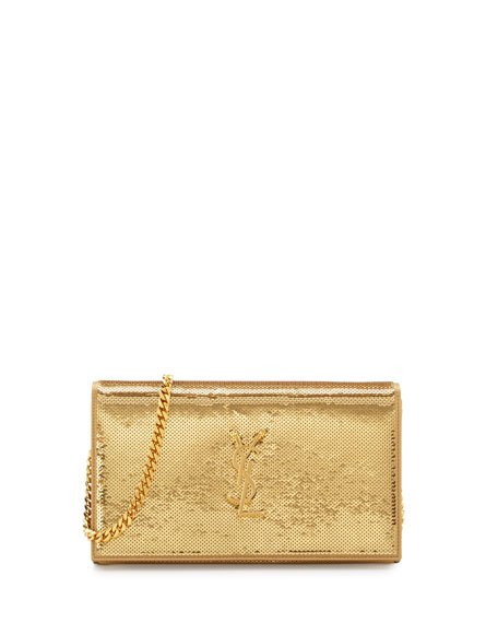 Monogram Sequined Wallet on a Chain, Gold