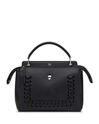 Dotcom Whipstitched Medium Leather Satchel Bag, Black