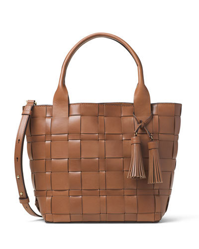 Vivian Medium Leather Tote Bag, Walnut