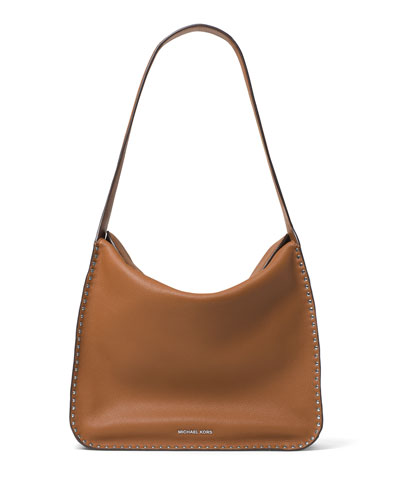 Astor Large Studded Leather Hobo Bag, Acorn