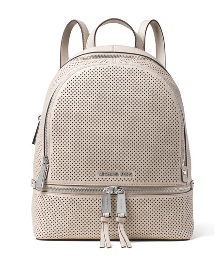 55daf7d8f155 ... clearance michael michael kors rhea medium perforated zip backpack  cement cd9c2 b20d3