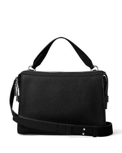 Ingrid Medium Leather Shoulder Bag, Black
