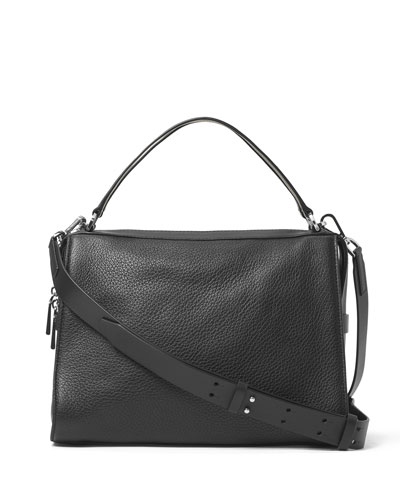 Ingrid Large Leather Shoulder Bag, Black