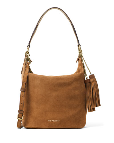 Elana Long Convertible Shoulder Bag, Dark Caramel
