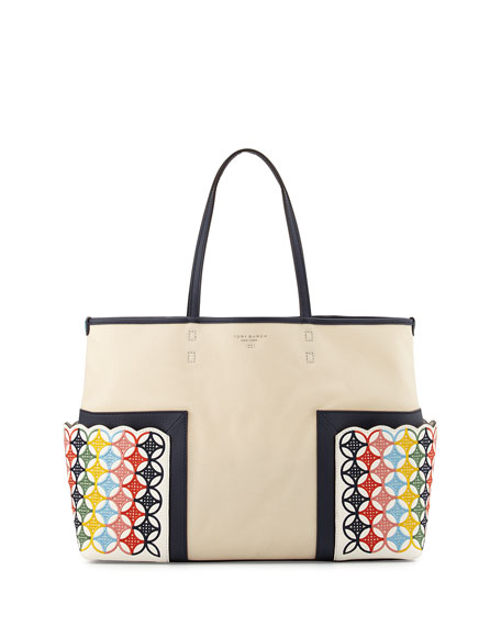 Tory BurchBlock-T Embroidered Tote Bag, Natural/Multi