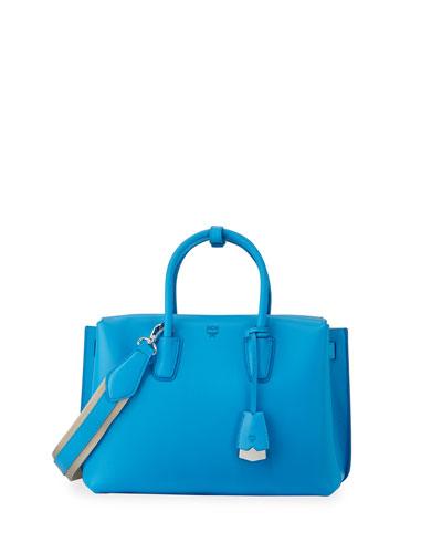 Milla Medium Leather Tote Bag, Tile Blue
