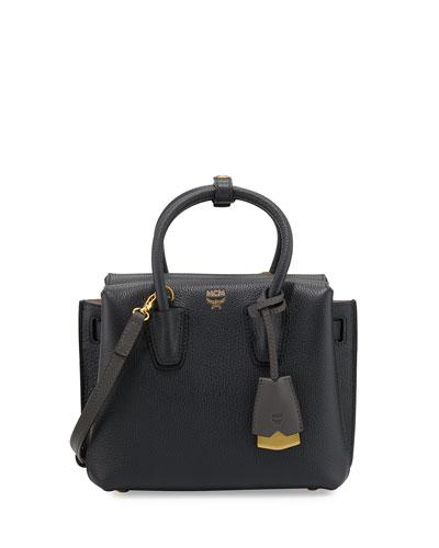 Milla Mini Leather Tote Bag, Phantom Gray
