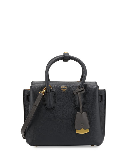 MCM Milla Mini Leather Tote Bag, Phantom Gray