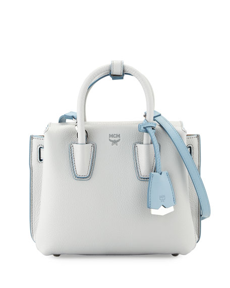MCM Milla Mini Leather Tote Bag, Whisper Gray