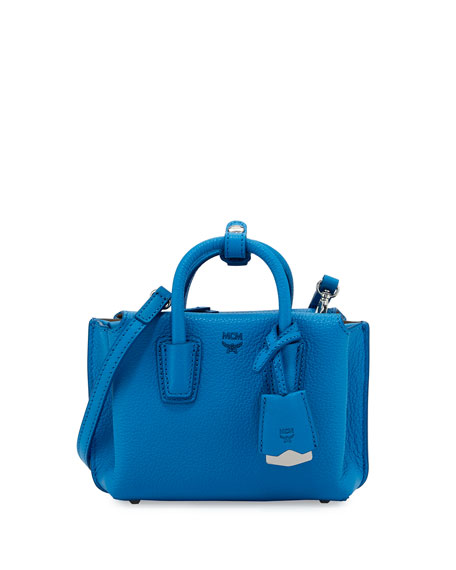 MCM Milla X-Mini Leather Tote Bag, Tile Blue