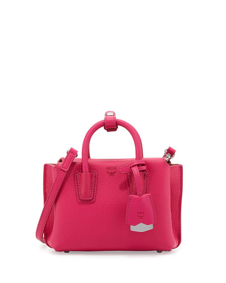 MCM Milla X-Mini Leather Tote Bag, Beetroot Pink