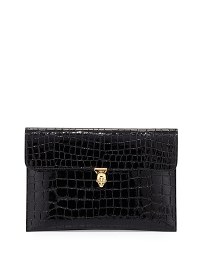 Skull Crocodile-Embossed Clutch Bag, Black