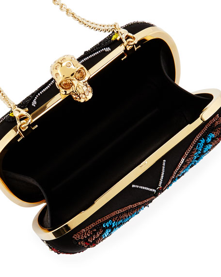 Skull Beaded Butterfly Clutch Bag, Black/Multi