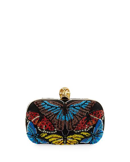 Alexander McQueen Skull Beaded Butterfly Clutch Bag, Black/Multi