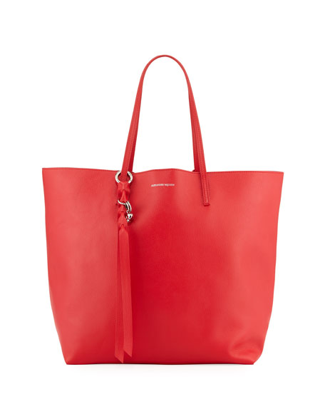 Skull Open Leather Shopper Tote Bag, Red