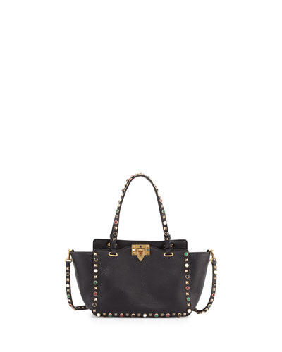Rolling Rockstud Mini Tote Bag, Black