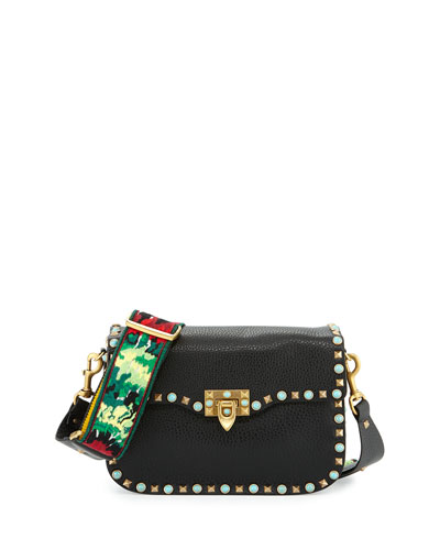 Rockstud Rolling Medium Jamaican Guitar-Strap Shoulder Bag, Black/Multi