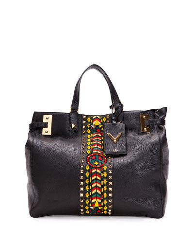 My Rockstud Large Jamaica Tote Bag, Black Multi
