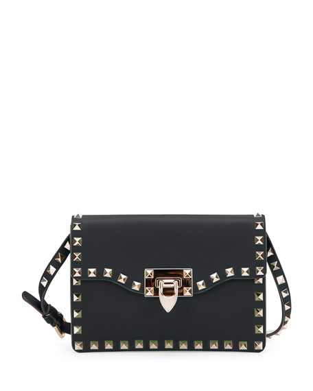 Valentino Small Rockstud Flap Crossbody Bag, Black
