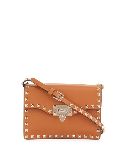 Small Rockstud Flap Crossbody Bag, Tan