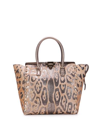 Medium Cavallino Double-Handle Satchel Bag, Leopard