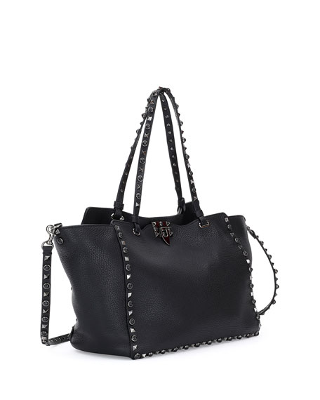 Rockstud Rolling Noir Medium Leather Tote Bag, Black
