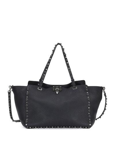 Rockstud Rolling Leather Tote Bag, Black