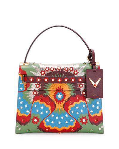 My Rockstud Enchanted Wonderland Satchel Bag, Green Multi