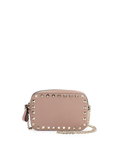 Small Rockstud Chain Camera Crossbody Bag, Off White