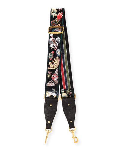 Animalia Embroidered Guitar Strap for Handbag, Black Multi
