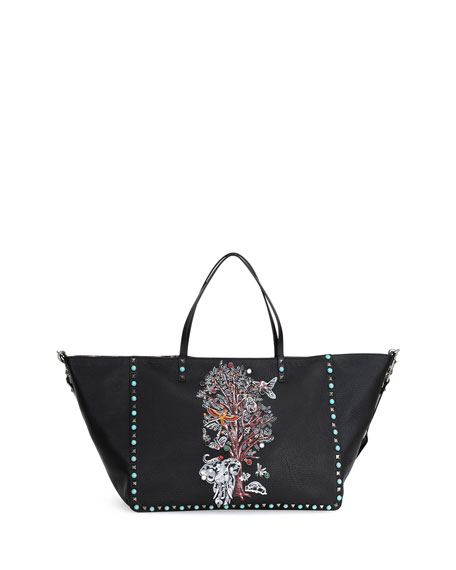 Valentino Tree of Life Large Reversible Tote Bag,