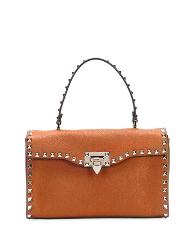 Rockstud Small Single-Handle Satchel Bag, Tan
