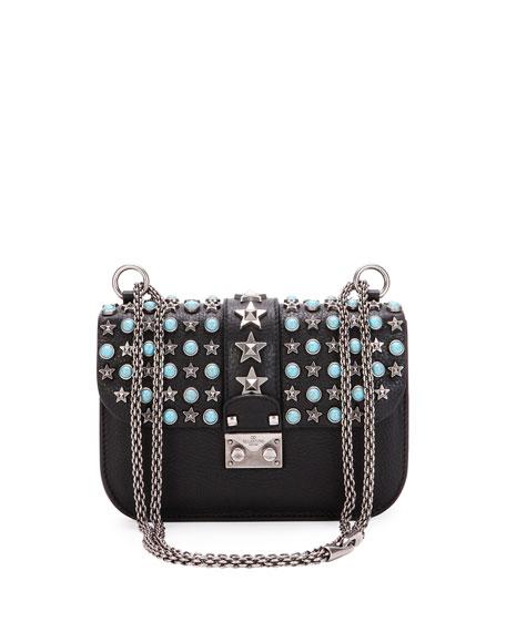 Valentino Small Lock Star-Studded Small Shoulder Bag, Black
