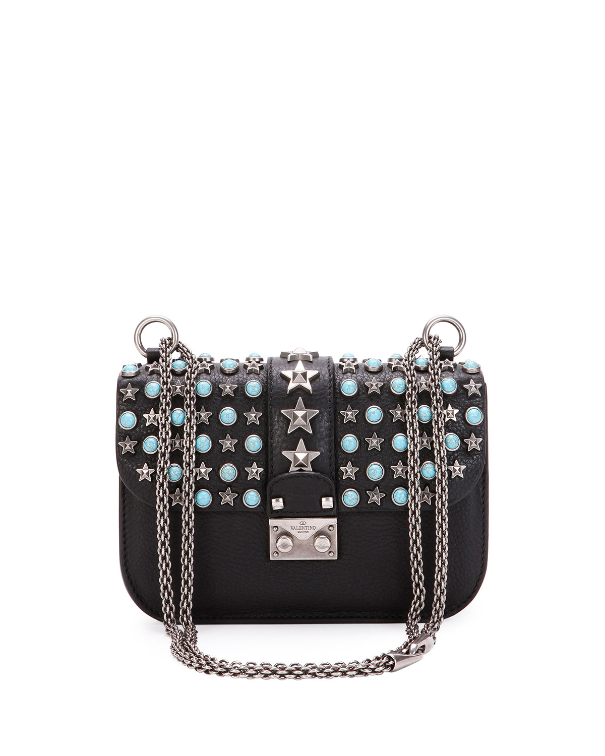 Valentino Garavani Small Lock Star Studded Shoulder Bag Black Pattern